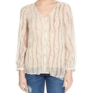 NWT Lucky Brand Lace Inset Vine Print Sheer Blouse